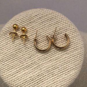 2 pairs 10kT gold studs & huggie earrings